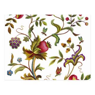 Traditioneller Baum des Leben-Stickerei-Musters Postkarte