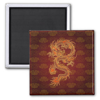Traditioneller Chinese-Rot-Drache Quadratischer Magnet