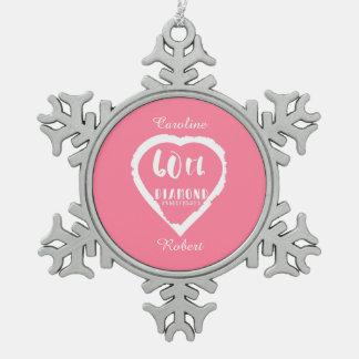 traditioneller Diamant des 60. Hochzeitstags Schneeflocken Zinn-Ornament