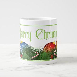 Traditioneller frohe Weihnacht-Gruß mit Verzierung Jumbo-Tasse