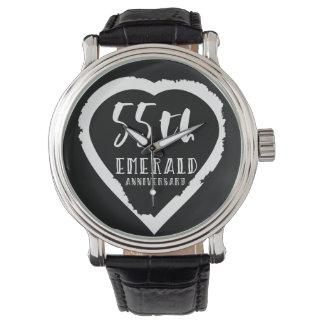 traditioneller Smaragd des 55. Hochzeitstags Armbanduhr