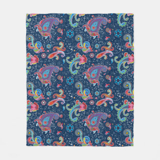 Traditionelles Blumenillustration Chic-Blaumuster Fleecedecke