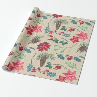 Traditionelles botanisches Weihnachten Geschenkpapier