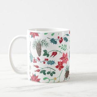 Traditionelles botanisches Weihnachten (weiß) Kaffeetasse