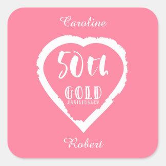 traditionelles goldenes Gold des 50. Hochzeitstags Quadratischer Aufkleber