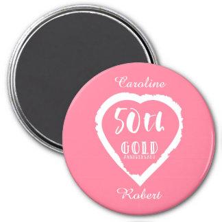 traditionelles goldenes Gold des 50. Hochzeitstags Runder Magnet 7,6 Cm