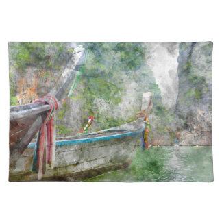 Traditionelles langes Boot in Thailand Stofftischset