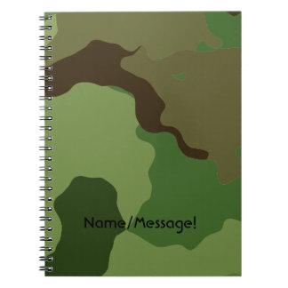 Traditionelles Militär tarnt Spiral Notizblock