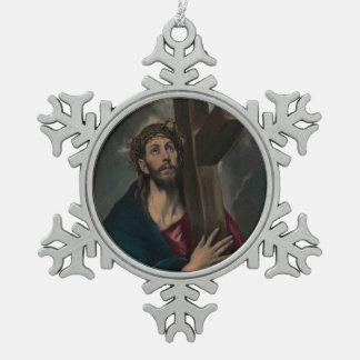 Tragen des Kreuzes Schneeflocken Zinn-Ornament