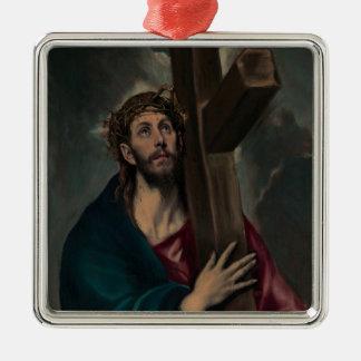 Tragen des Kreuzes Silbernes Ornament
