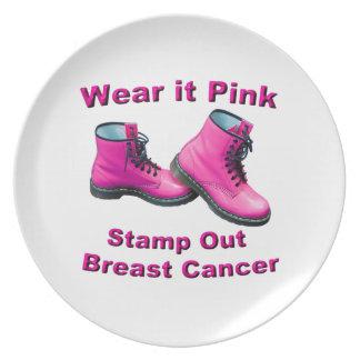 Tragen Sie es rosa Briefmarken-heraus Brustkrebs Teller