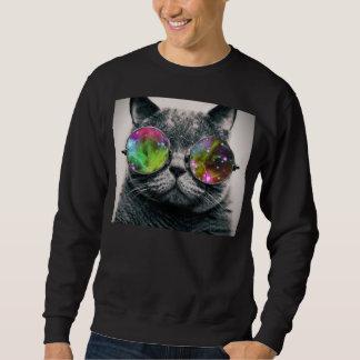 tragende Flieger-Sonnenbrille der Katze Sweatshirt