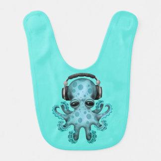 Tragende Kopfhörer blaues Baby-Kraken-DJ Babylätzchen