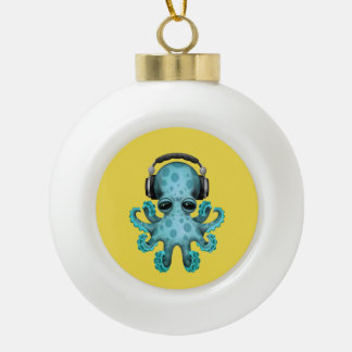 Tragende Kopfhörer blaues Baby-Kraken-DJ Keramik Kugel-Ornament