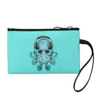 Tragende Kopfhörer blaues Baby-Kraken-DJ Münzbörse