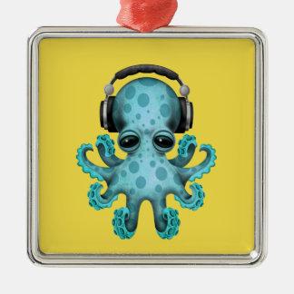 Tragende Kopfhörer blaues Baby-Kraken-DJ Quadratisches Silberfarbenes Ornament