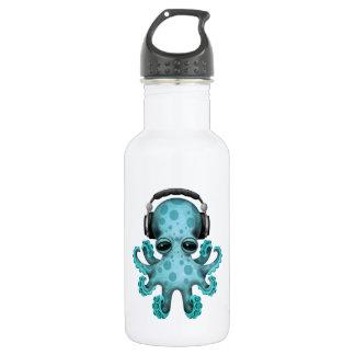 Tragende Kopfhörer blaues Baby-Kraken-DJ Trinkflasche