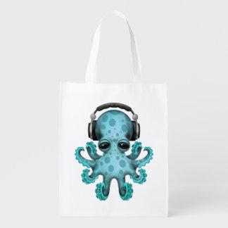 Tragende Kopfhörer blaues Baby-Kraken-DJ Wiederverwendbare Einkaufstasche