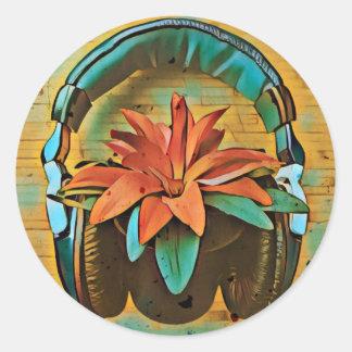 Tragende Kopfhörer der Retro Pflanze Runder Aufkleber
