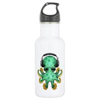 Tragende Kopfhörer grüne Baby-Kraken-DJ Edelstahlflasche