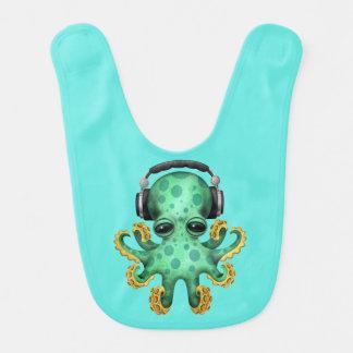 Tragende Kopfhörer grüne Baby-Kraken-DJ Lätzchen