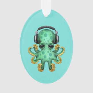 Tragende Kopfhörer grüne Baby-Kraken-DJ Ornament