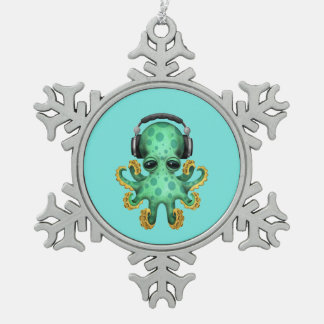 Tragende Kopfhörer grüne Baby-Kraken-DJ Schneeflocken Zinn-Ornament