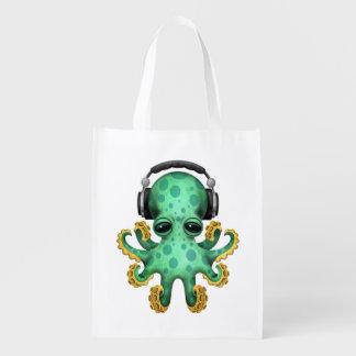 Tragende Kopfhörer grüne Baby-Kraken-DJ Wiederverwendbare Einkaufstasche