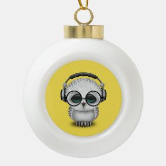 Tragende Kopfhörer niedliche Baby-Eulen-DJ Keramik Kugel-Ornament