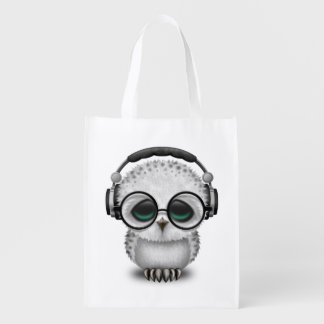 Tragende Kopfhörer niedliche Baby-Eulen-DJ Wiederverwendbare Einkaufstasche