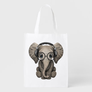 Tragende Kopfhörer niedlicher Baby-Elefant-DJ Wiederverwendbare Einkaufstasche