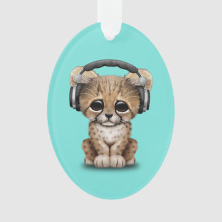 Tragende Kopfhörer niedlicher Babycheetah-DJ Ornament
