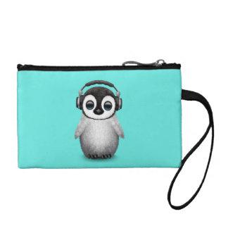 Tragende Kopfhörer niedlicher Babypenguin-DJ Münzbeutel