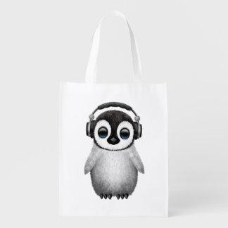 Tragende Kopfhörer niedlicher Babypenguin-DJ Wiederverwendbare Einkaufstasche