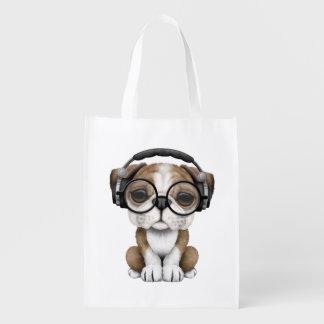 Tragende Kopfhörer niedlicher Bulldoggen-Welpen-DJ Wiederverwendbare Einkaufstasche