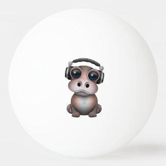 Tragende Kopfhörer niedliches Baby-Flusspferd-DJ Ping-Pong Ball