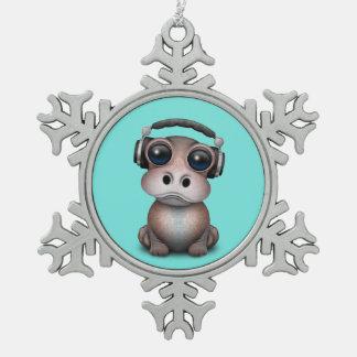 Tragende Kopfhörer niedliches Baby-Flusspferd-DJ Schneeflocken Zinn-Ornament