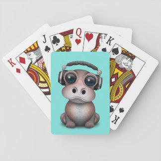 Tragende Kopfhörer niedliches Baby-Flusspferd-DJ Spielkarten
