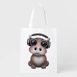 Tragende Kopfhörer niedliches Baby-Flusspferd-DJ Wiederverwendbare Einkaufstasche