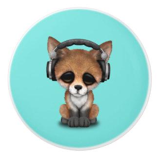 Tragende Kopfhörer niedliches BabyFox Keramikknauf