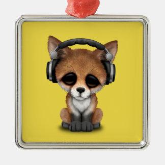 Tragende Kopfhörer niedliches BabyFox Quadratisches Silberfarbenes Ornament