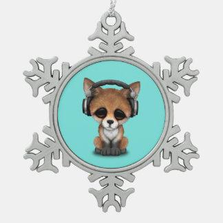Tragende Kopfhörer niedliches BabyFox Schneeflocken Zinn-Ornament