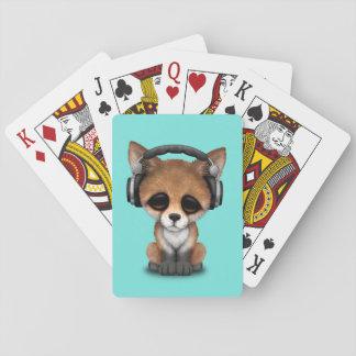 Tragende Kopfhörer niedliches BabyFox Spielkarten