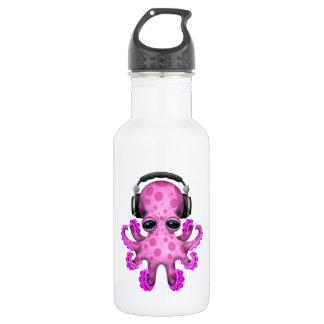 Tragende Kopfhörer rosa Baby-Kraken-DJ Edelstahlflasche