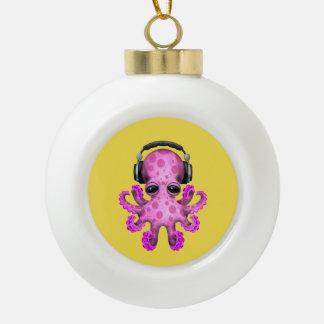 Tragende Kopfhörer rosa Baby-Kraken-DJ Keramik Kugel-Ornament