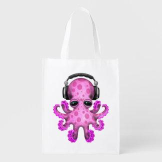 Tragende Kopfhörer rosa Baby-Kraken-DJ Wiederverwendbare Einkaufstasche