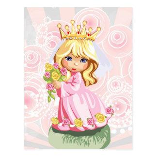 Tragende Krone niedlicher kleiner blonder Postkarte
