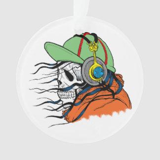 Tragende Schwingkopfhörer des Skeletts Ornament