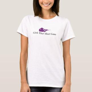 Trägershirt-Mädchen, die Gewehre schießen T-Shirt