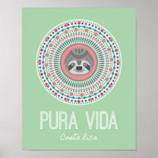 Trägheits-Mandala-Kunst-Druck Costa Ricas grüner Poster